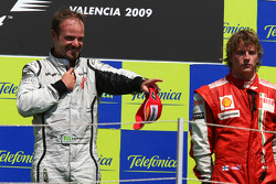 Podium: race winner Rubens Barrichello, BrawnGP, third place Kimi Raikkonen, Scuderia Ferrari