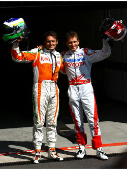 Giancarlo Fisichella, Force India F1 Team, VJM-02, Pole Position and 2nd, Jarno Trulli, Toyota F1 Team