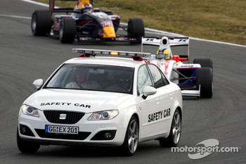 Andy Soucek leads behind the safety car
