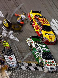 Greg Biffle, Roush Fenway Racing Ford, A.J. Allmendinger, Richard Petty Motorsports Dodge and Kevin Harvick, Richard Childress Racing Chevrolet