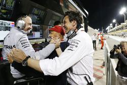 Toto Wolff, Mercedes GP Executive Director, Paddy Lowe, Mercedes AMG F1 Executive Director (Technical) and Niki Lauda, Mercedes Non-Executive Chairman