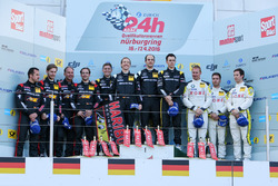 Podium: second place #6 Haribo Racing Team, Mercedes-AMG GT3: Uwe Alzen, Lance David Arnold, Maximilian Götz, Jan Seyffarth; Winner #30 HTP Motorsport,  Mercedes-AMG GT3: Maximilian Buhk, Christian Vietoris, Thomas Jäger, Dominik Baumann; third place #23 ROWE Racing, BMW M6 GT3: Alexander Sims, Philipp Eng, Maxime Martin