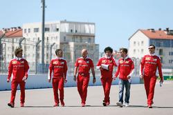 Sebastian Vettel, Ferrari walks the circuit with the team