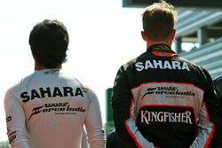 Sergio Perez, Sahara Force India F1 and Nico Hulkenberg, Sahara Force India F1 as the grid observes the national anthem