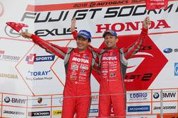 Podium GT500: race winners and Tsugio Matsuda, Ronnie Quintarelli, Nismo