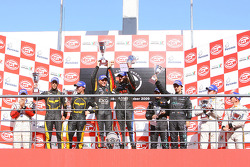 GT1 podium: class and overall winners Bert Longin and James Ruffier, second place Mike Hezemans and Anthony Kumpen, third place Miguel Ramos and Alex Müller