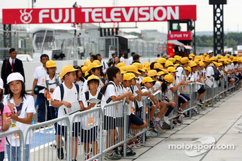 Children in the pitlane