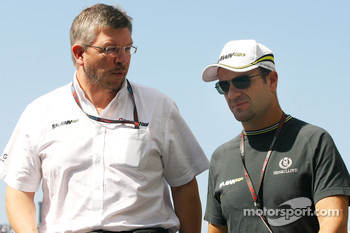 Ross Brawn Team Principal, Brawn GP and Rubens Barrichello, Brawn GP