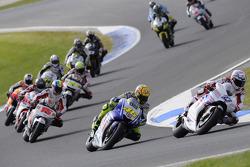 Start: Casey Stoner, Ducati Marlboro Team leads Valentino Rossi, Fiat Yamaha Team