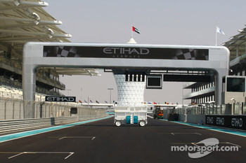 The start finish straight at the New Abu Dhabi Yas Marina Circuit