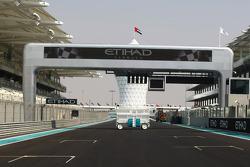 The start finish straight at the New Abu Dhabi Yas Marina Circuit
