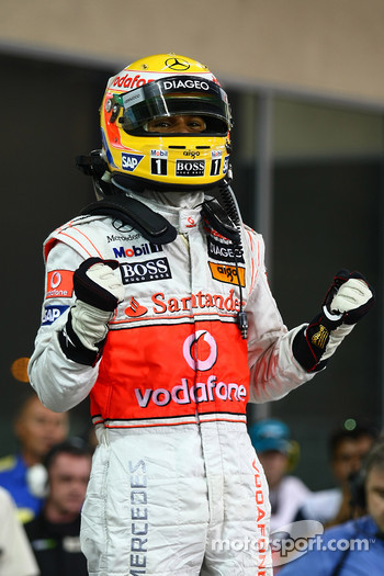 Pole winner Lewis Hamilton, McLaren Mercedes celebrates