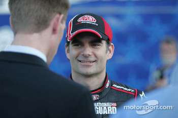 Jeff Gordon does televsion interviews in Victory Lane