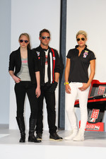 Models wearing IZOD's racing-inspired clothing line