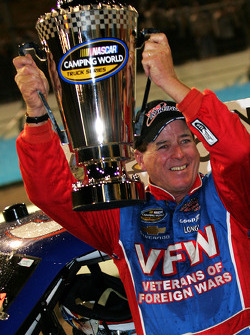 NASCAR Camping World Truck Series 2009 champion Ron Hornaday celebrates