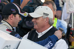 Victory lane: race winner Jimmie Johnson, Hendrick Motorsports Chevrolet celebrates with Rick Hendrick