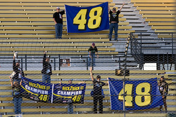 Fans of Jimmie Johnson stayed long after the checkered flag