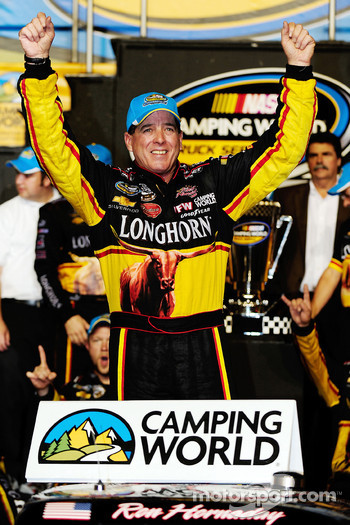 Championship victory lane: 2009 champion Ron Hornaday celebrates