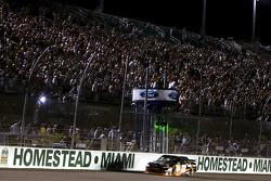 Denny Hamlin, Joe Gibbs Racing Toyota takes the checkered flag