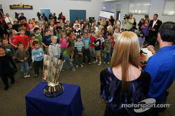 Four-time NASCAR Sprint Cup Champion Jimmie Johnson, Hendrick Motorsports Chevrolet, and his wife Chandra meet with students at his alma mater, Crest Elementary School in El Cajon, California