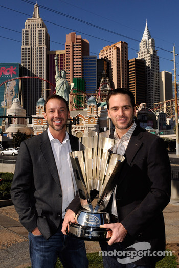 2009 NASCAR Sprint Cup Series Champion Jimmie Johnson and crew chief Chad Knaus pose with the trophy during Day 1 of the NASCAR Sprint Cup Series Champions Week on December 2, 2009 in Las Vegas, Nevada.  *** Local Caption *** Jimmie Johnson; Chad Knaus