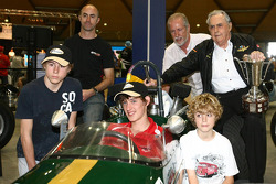 Three time Formula One World Championship Sir Jack Brabham with David Brabham and sons in celebration of Sir Jack Brabham's first of Formula One World Championship