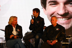 Sir Richard Branson, Chairman of the Virgin Group with Timo Glock, driver and John Booth, Sporting Director