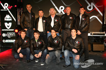 Luiz Razia, test driver with Nick Wirth, Technical Director, Timo Glock, driver, Alex Tai, Virgin Racing CEO and Team Principal, Sir Richard Branson, Chairman of the Virgin Group, Lucas di Grassi, driver, John Booth, Sporting Director, Alvaro Parente, tes