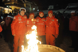 Stefano Domenicali, Felipe Massa, Giancarlo Fisichella and Fernando Alonso