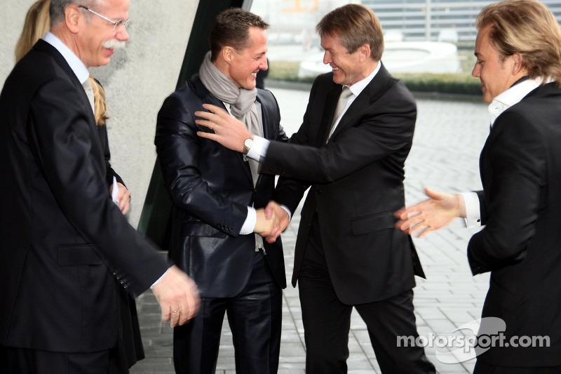 Dr. Dieter Zetsche, Michael Schumacher und Nico Rosberg