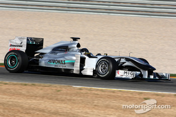 Michael Schumacher, Mercedes GP, W01, in a black helmet