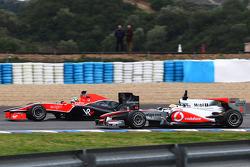 Lucas di Grassi, Virgin Racing VR-01 and Lewis Hamilton, McLaren Mercedes