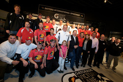 Champion's breakfast: 2010 Daytona 500 winner Jamie McMurray with team owners Chip Ganassi and Felix Sabates, crew chief Kevin Manion and the Earnhardt Ganassi Racing Chevrolet team