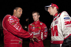 Juan Pablo Montoya, Earnhardt Ganassi Racing Chevrolet, Kasey Kahne, Richard Petty Motorsports Ford and Greg Biffle, Roush Fenway Racing Ford
