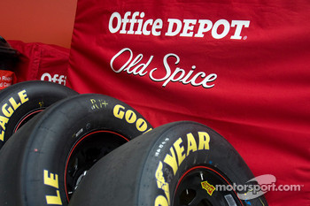 The No 14 Old Spice/Office Depot equipment sits in the garage