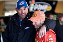 Steve Addington, crew chief for Kurt Busch, jokes around with Jamie McMurray, Earnhardt Ganassi Racing Chevrolet
