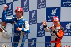 Giacomo Ricci celebrates his victory on the podium with Sam Bird