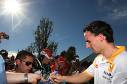 Robert Kubica, Renault F1 Team, signs autographs
