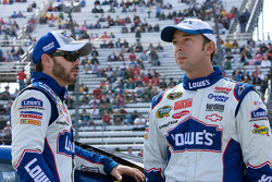 Jimmie Johnson, Hendrick Motorsports Chevrolet talks with his crew chief Chad Knaus
