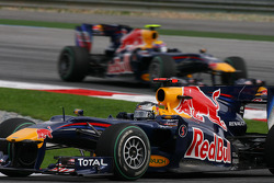 Sebastian Vettel, Red Bull Racing leads Mark Webber, Red Bull Racing