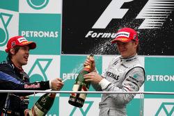 Podium: race winner Sebastian Vettel, Red Bull Racing, third place Nico Rosberg, Mercedes GP