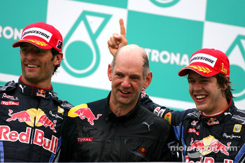 Podium: race winner Sebastian Vettel, Red Bull Racing, second place Mark Webber, Red Bull Racing, Adrian Newey, Red Bull Racing, Technical Operations Director