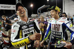 MotoGP riders photoshoot: Colin Edwards, Monster Yamaha Tech 3 and Valentino Rossi, Fiat Yamaha Team