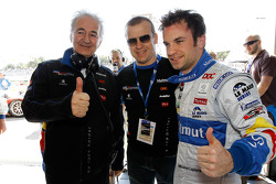 Pole winner Nicolas Lapierre celebrates with Hugues de Chaunac and Olivier Panis