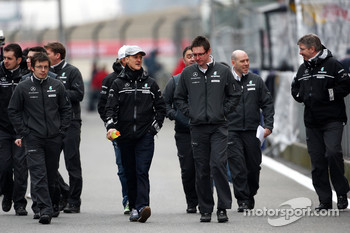 Michael Schumacher, Mercedes GP walk the circuit with Andrew Shovlin, Mercedes GP, Senior Race Engineer to Michael Schumacher, Jock Clear, Mercedes GP, Senior Race Engineer, Ross Brawn, Brawn GP, Team Principal