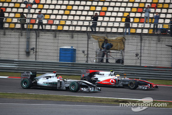 Lewis Hamilton, McLaren Mercedes and Michael Schumacher, Mercedes GP