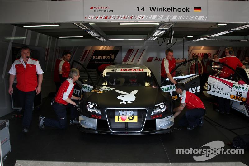 Garage and car of Markus Winkelhock, Audi Sport Team Rosberg, Audi A4 DTM