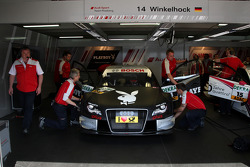 Garage and car of Markus Winkelhock, Audi Sport Team Rosberg, Audi A4 DTM