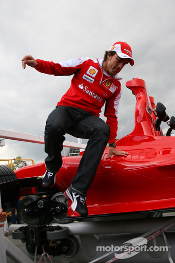 Fernando Alonso, Scuderia Ferrari jumps of the new Ferrai Roller Coaster to be the faster roller coaster in the world of speeds up to 240 kph to be used in Abu Dhabi