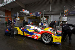 Team Oreca Matmut team members practice tire change